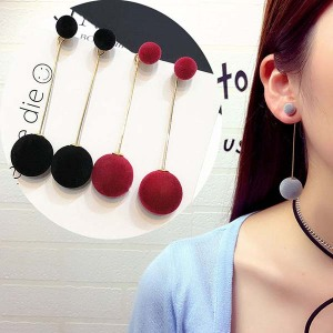 Fashion Red Black Plush Ball Drop Earrings For Women Korea personality Round Long Tassel Earrings Statement Jewelry Gift