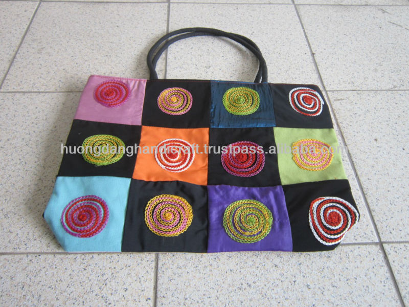 Free Fabric Handbag Patterns Spiral Motif Embroidery Handmade Bag Purse Hand Embroidered Product On Alibaba