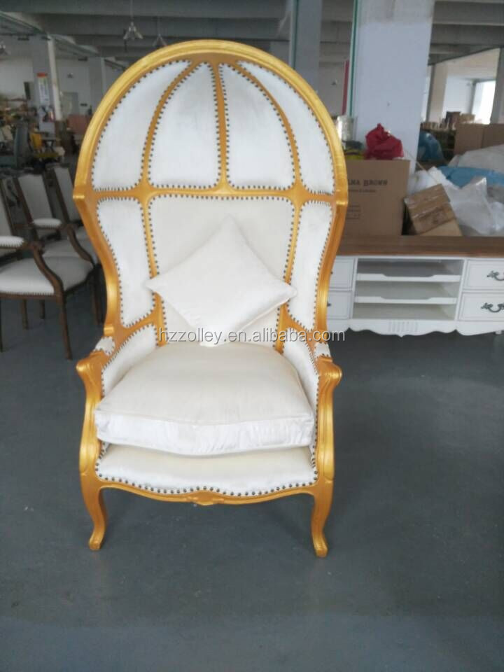 Hotel Golden Half Circle Chair Egg Shaped Canopy Dining