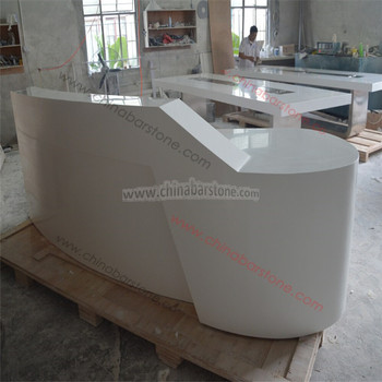 White Glossy Diamond Shape Salon Reception Desk For Nail