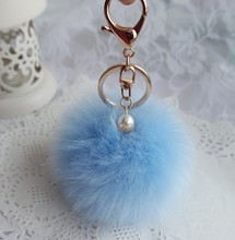 8CM Rabbit Hair Ball Keychain Simulation Car Ornaments Key Chain For Chaveiro Key Ring Llavero Llaveros Mujer Chaveiro Carro