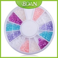 Colorful 3D Pearl Nail Decoration in Wheel