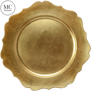 Cheap wholesale round gold charger plate plastic