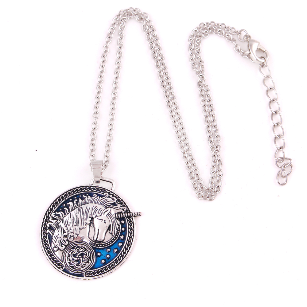 N0562 Huilin Jewelry Medieval Celtic Unicorn Stars Blue Enamel Alloy Necklace