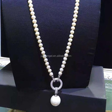 White Simulated Shell Pearl Strands Sweater Pendant Necklace with Cubic Zirocnia Charm
