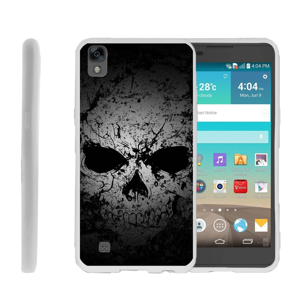 ZTE X Power Flexible Case, LG K6P Flexible Case [FLEX FORCE] Flexible SLim Fit TPU Case Cover with Dazzling Designs by Miniturtle - Faded Skull