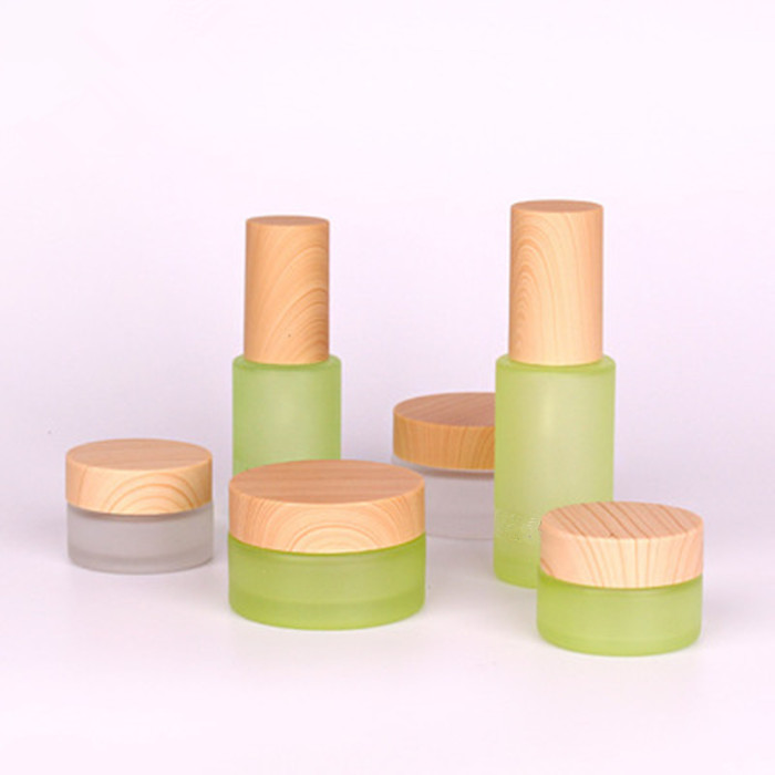 30ml50ml100ml clear green frosted glas crème pot met bamboe patroon cap lege glazen oogcrème container cosmetica verpakking