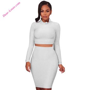 7f6c4c83cc1c4d Ladies Designer Long Sleeve High Waisted Skirt And Crop Top Set ...