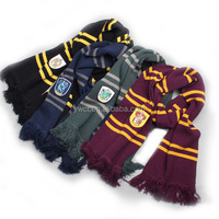 Fashion New Harry Potter Scarf Horizontal Stripe Winter Knit Scarf with Embroidered Logo