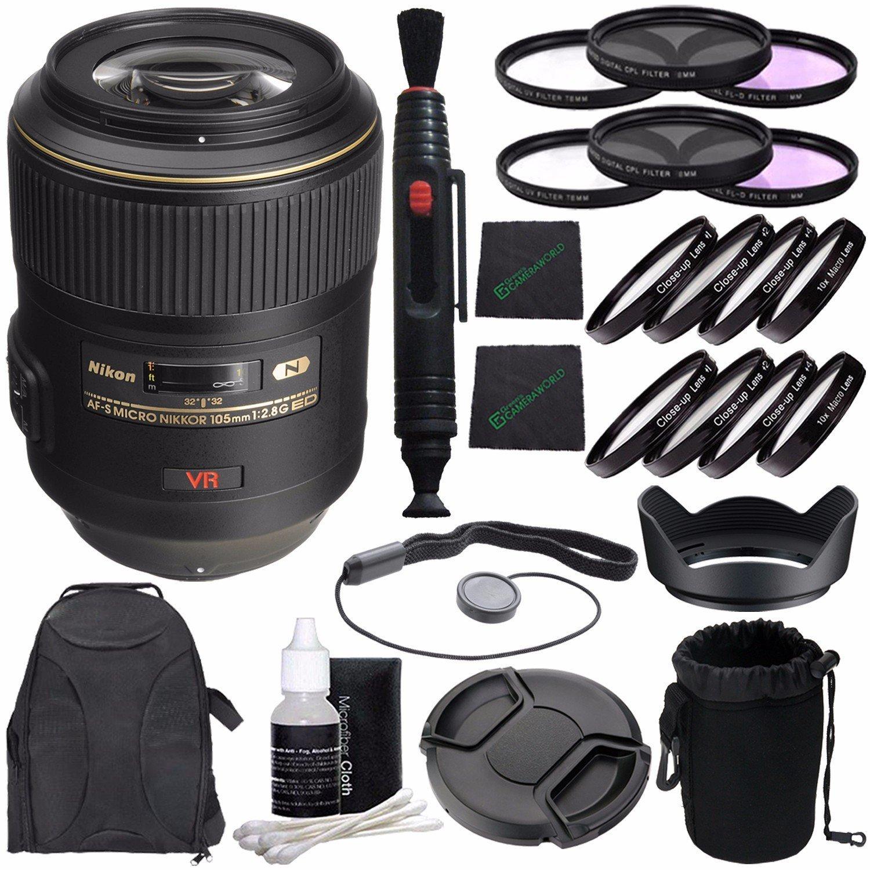 Nikon AF-S VR Micro-NIKKOR 105mm f/2.8G IF-ED Lens + 62mm 3 Piece Filter Set (UV, CPL, FL) + 62mm +1 +2 +4 +10 Close-Up Macro Filter Set with Pouch + LENS CAP 62MM + 62mm Lens Hood + Cloth Bundle