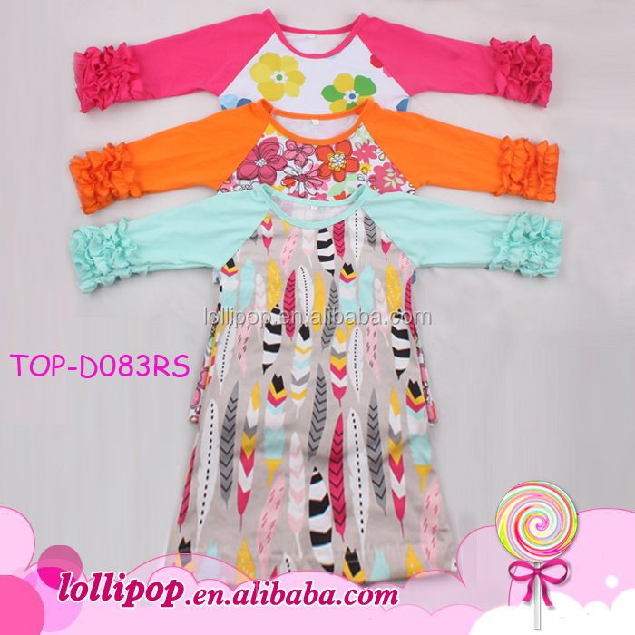 Wholesale Children's Boutique Clothing 3/4 Ruffle Raglan Sleeve Gown Feather Pattern Girls Icing Raglan Dress