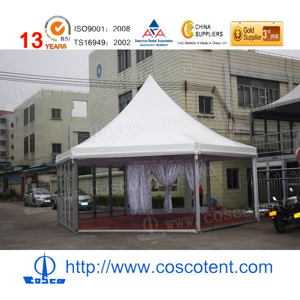 Hexagonal pagoda tent with wooden floor and glass wall