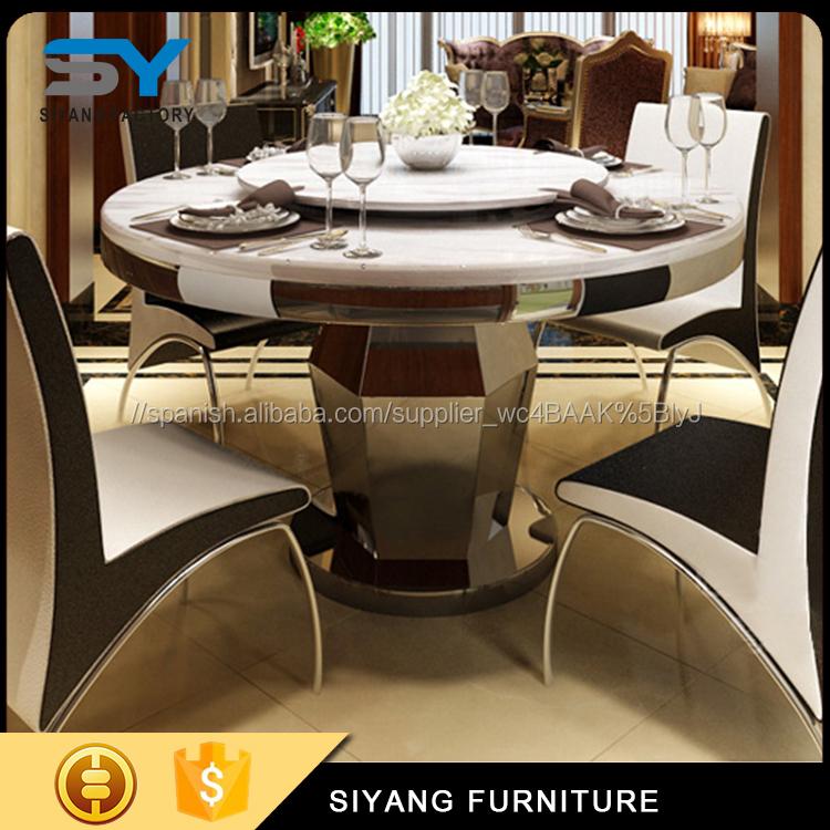 Diseño de moda mesa de comedor redonda con base de acero para la ...