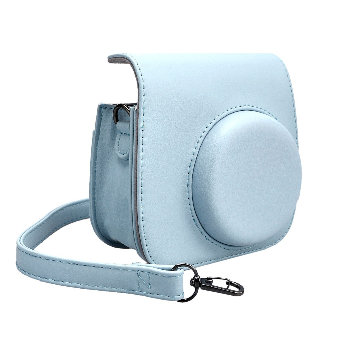 SKmoon PU Leather Instax Camera Accessories Compact Case Vintage Shoulder Bag with Pocket for Fujifilm Instax Mini 8 Instant Film Camera (Blue)