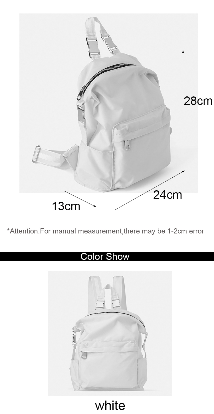 OEM Designer Ladies Stylish Waterproof Bags Travel White Nylon Backpacks