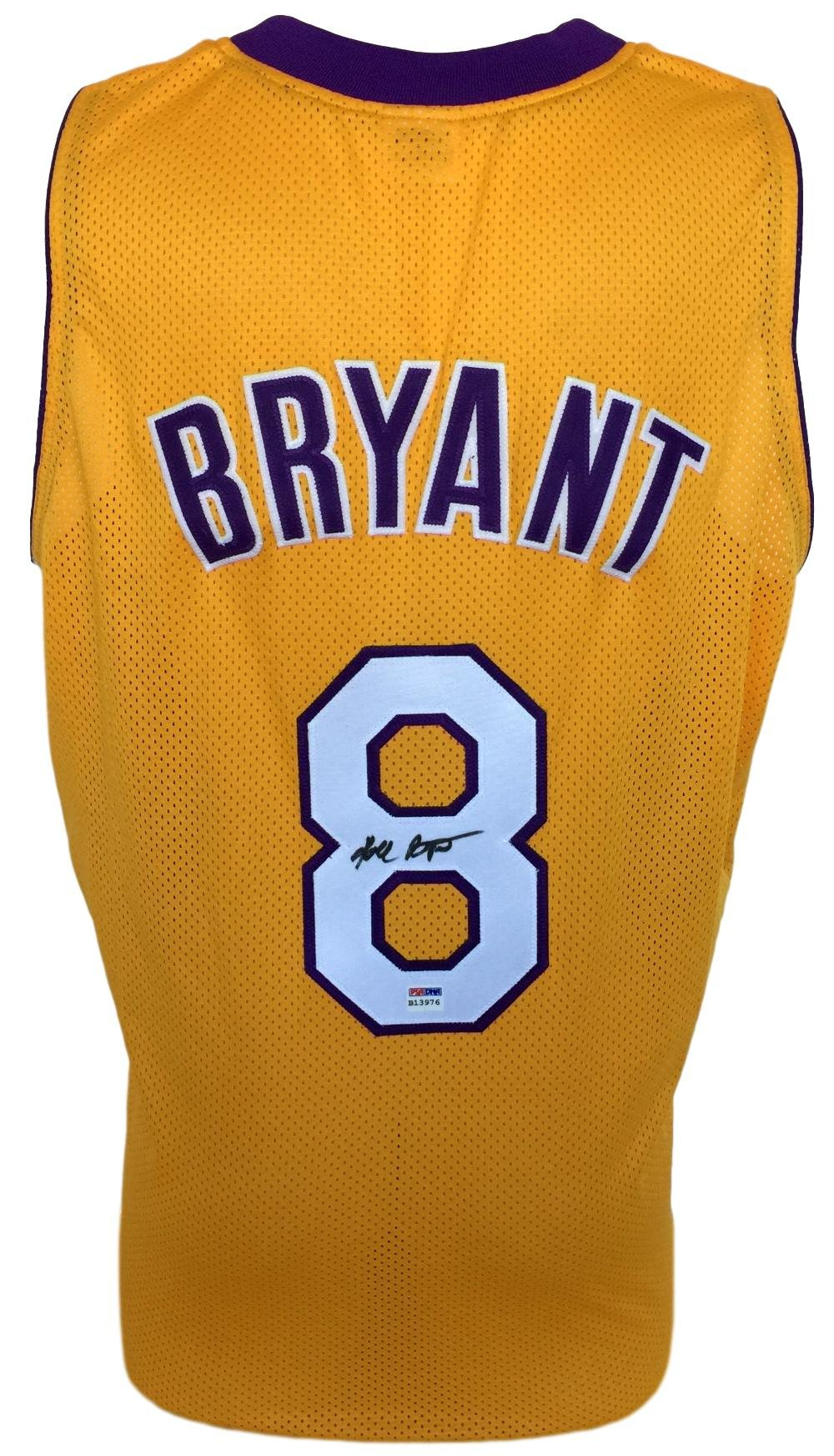 c5378655d3b Get Quotations · Lakers Kobe Bryant Signed Custom Yellow Pro-Style  Basketball Jersey PSA - Authentic Autograph