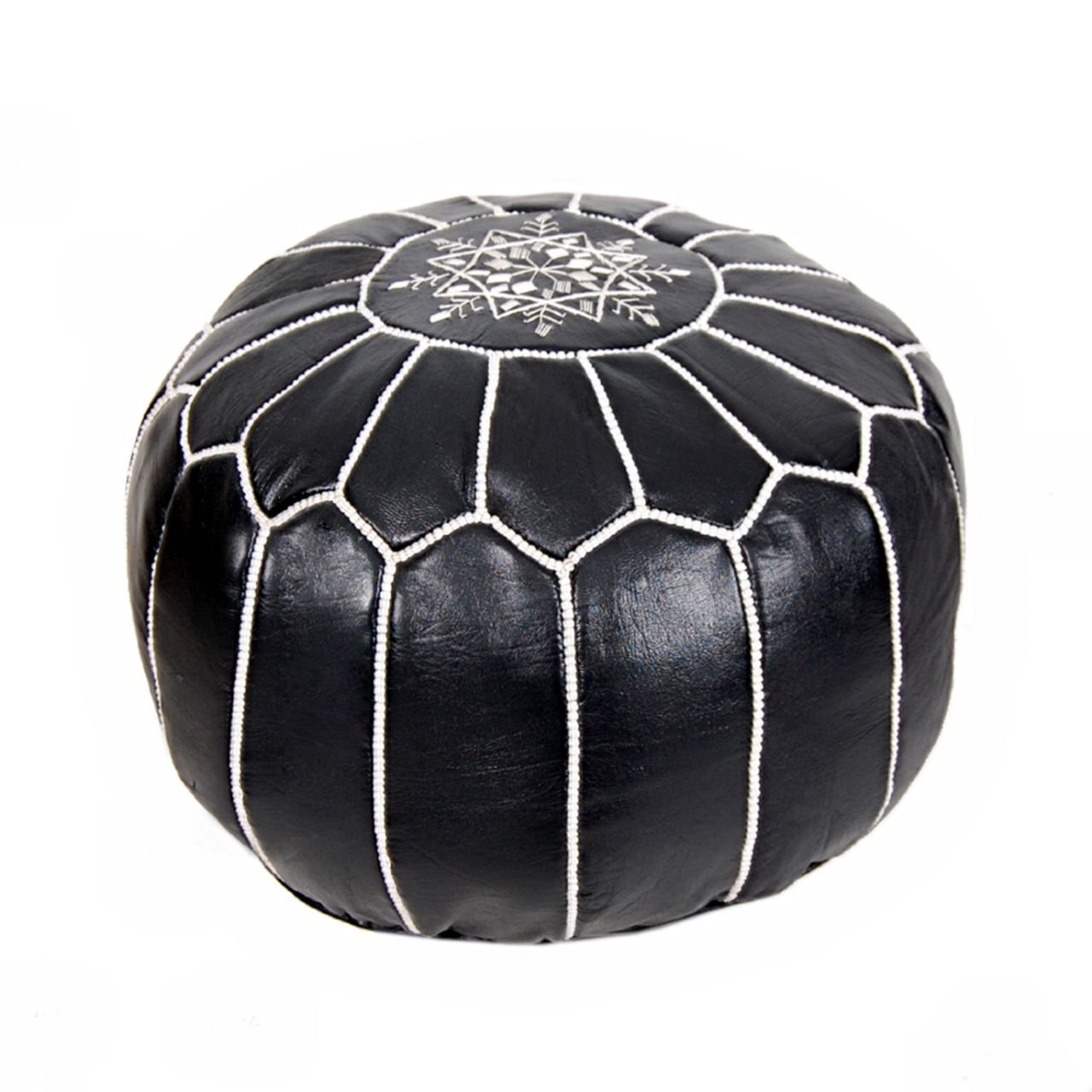Stuffed Moroccan Leather Pouf Ottoman Footstool (Leather) Genuine Hand-Stitched Seating | Living Room, Bedroom, Sitting Area | Black White