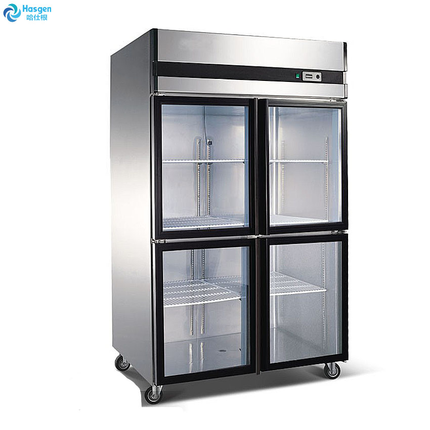 Double glass doors cold drink display fridge for sale