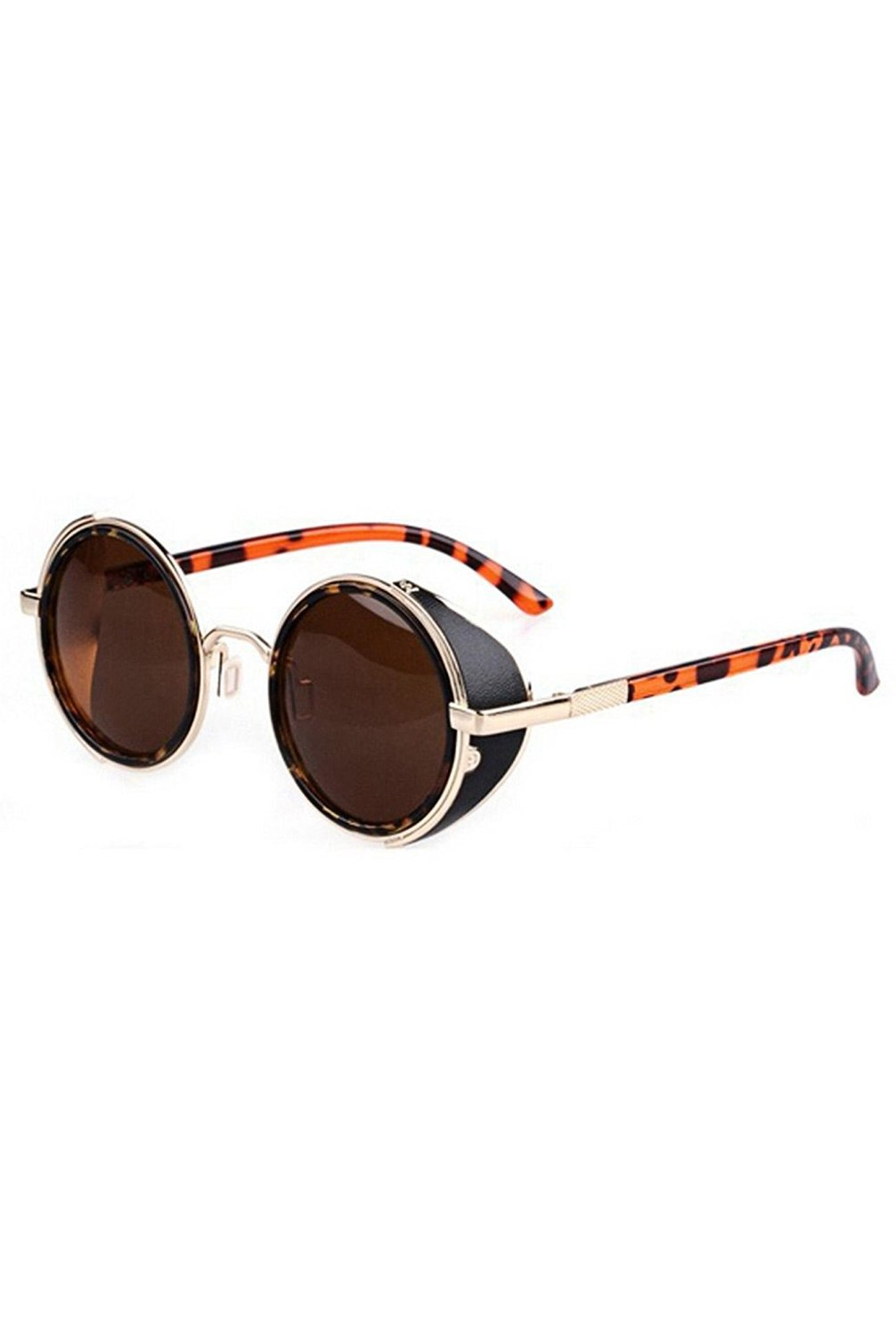 TOOGOO(R)80's Vintage Style Classic Round Steampunk Sunglasses-Dark Brown with Gold Edge + Leopard