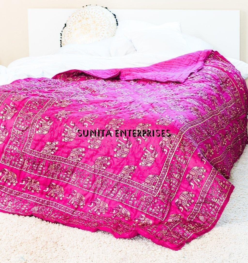 "Pure Elephant INDIAN Jaipuri Double Bed Cotton Razai , Handmade Stiched Jaipuri Rajai , Jaipuri Quilt ( Sanganeri Print Razai - Rajai ) With Cotton Filling By SUNITA ENTERPRISES (Pink, 90""x105"")"