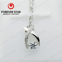 Genuine Sterling Silver Dancing Stone Jewelry Pave Diamond Pendant Factory Direct Wholesale