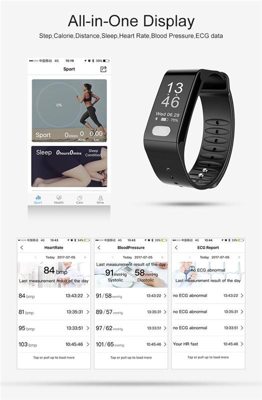 2017 newest free downloaded Goheart App heart rate blood pressure high accurate ECG smart watch