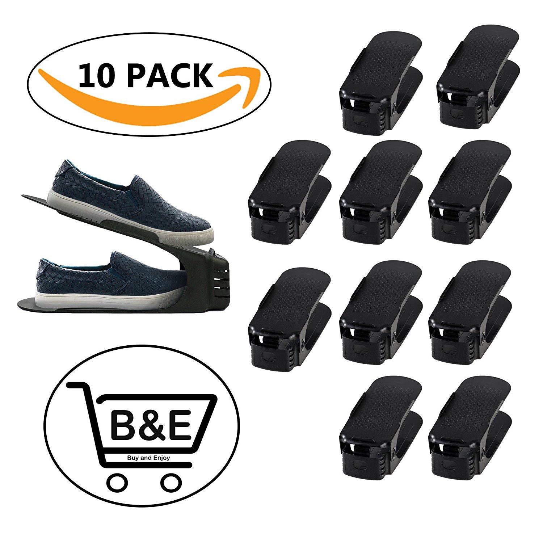 Shoe Slots Space Saver | Shoe Slotz Space Saver | Shoe Slots Organizer | Shoe Rack Space Saver | Double Layer Shoe Rack Space Saver Plastic Shoe Slots Organizer |10 Pcs Pack