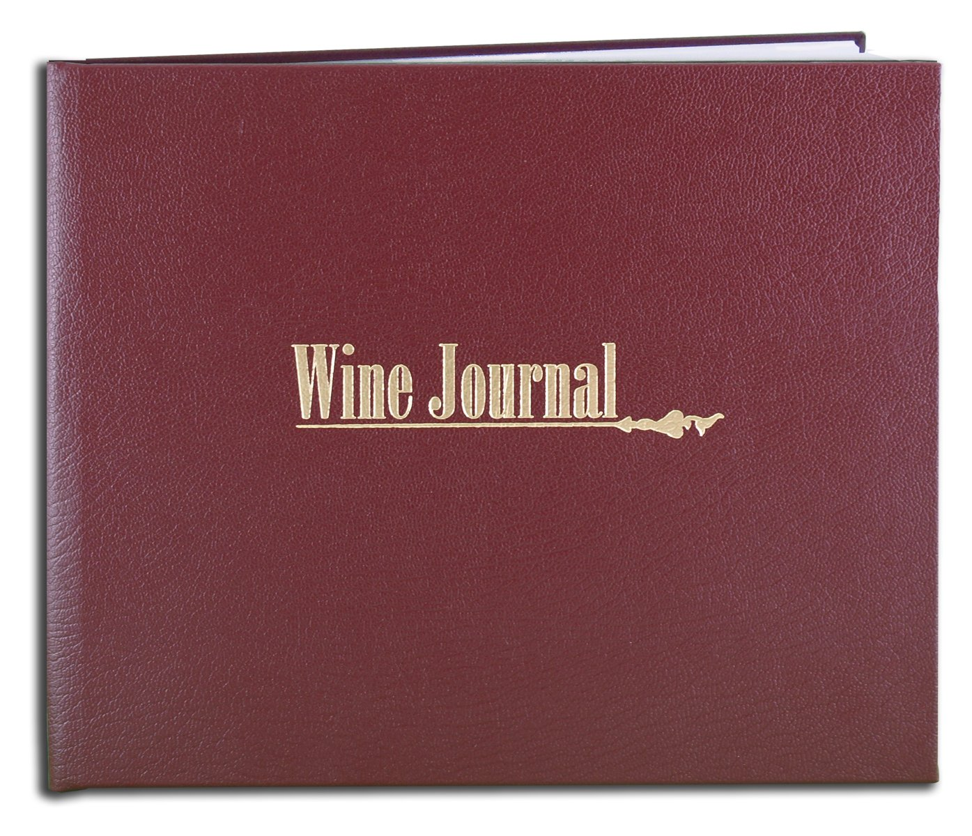 """BookFactory® Wine Journal / Wine Log Book / Wine Diary / Wine Notebook - Burgundy Leather Cover - 72 Pages, Professional Grade - Hardbound, 8 7/8"""" x 7"""" (LOG-072-XLO-TWR-WINE-XMT43)"""