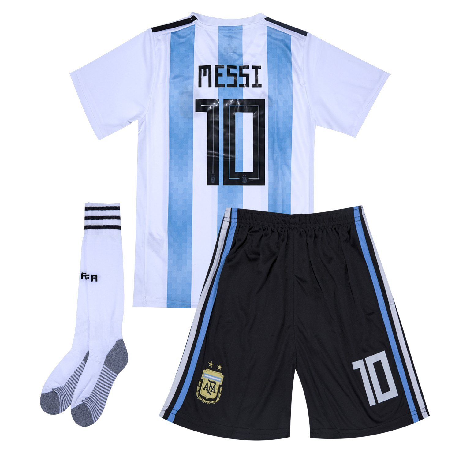 Get Quotations · Argentina National Team  10 Messi Home Soccer Jersey    Shorts   Socks Kids Youth 1a2288429