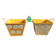 Low price mini colorful square galvanized metal flower pot with tin handle handmade decoration planter pot