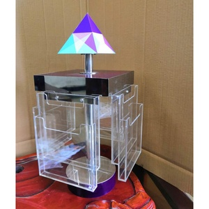 custom counter top rotating metal acrylic pyramid a5 brochure holder display stand,brochure display rack