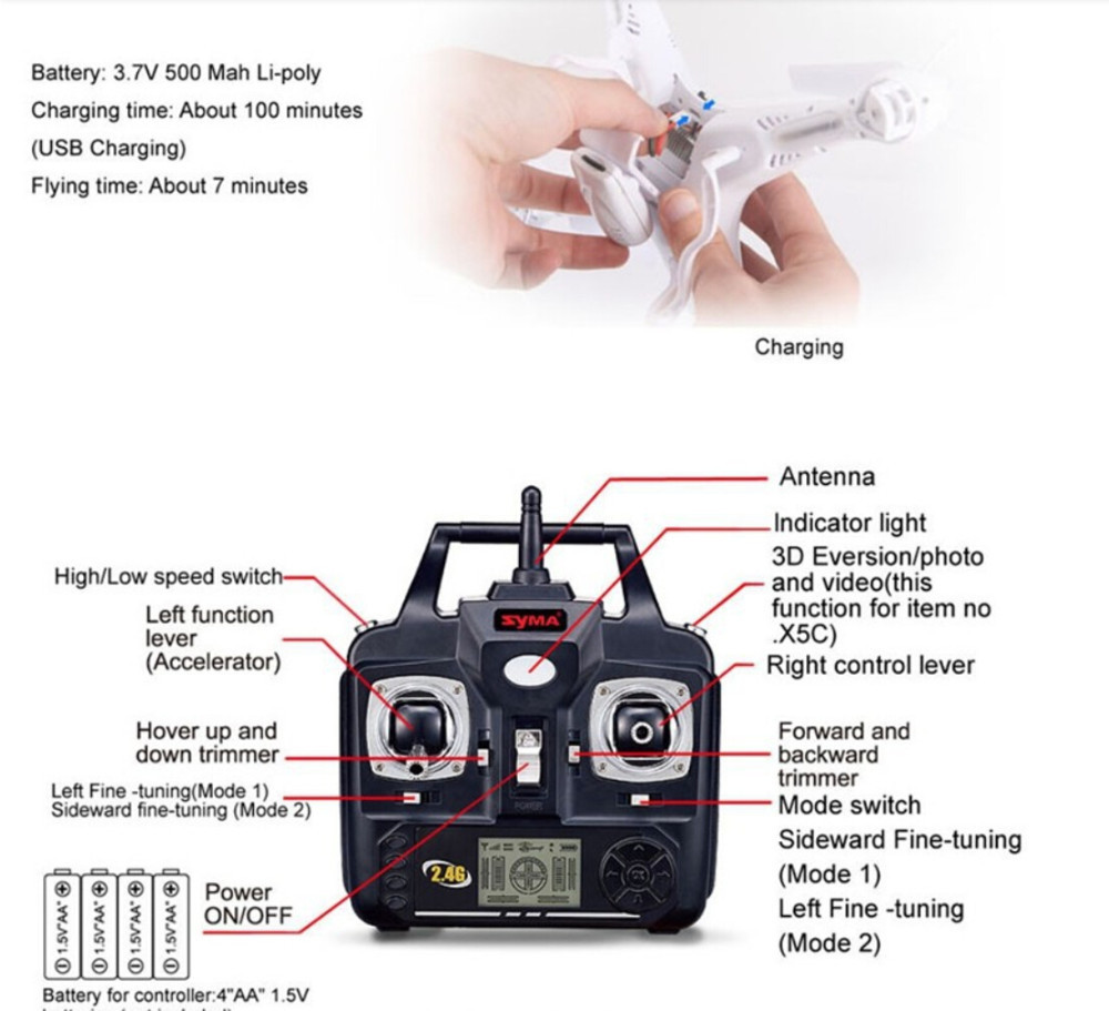 Free Shipping Top SYMA X5C 100% Original 2.4G 4CH 6 Axis Remote Control RC