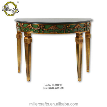 Living Room Black Marble Top Gold And Old Green Antique Half Round Table