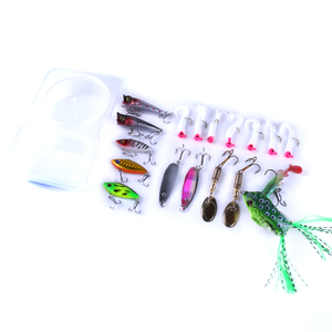Hengjia hot sell 18pieces lure set box frog round head lead jig soft bait spoon hard plastic VIBE lure fishing set box005