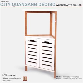 2017 Hot Sale Customized Modern Wooden Triangle Cabinet Bamboo Shampoo  Shelf Corner Cabinet For Bathroom Use