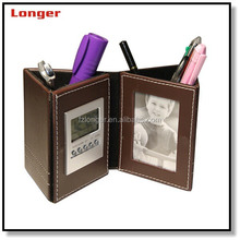 Price reasonable PU leather pen/pencil holder with photo frame LCD clock