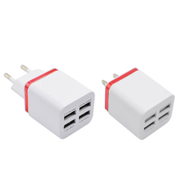 Wholesale Universal 4 Ports USB Charger EU US Plug 5V 2.1A LED Light Wall Travel Mobile Phone Chargers