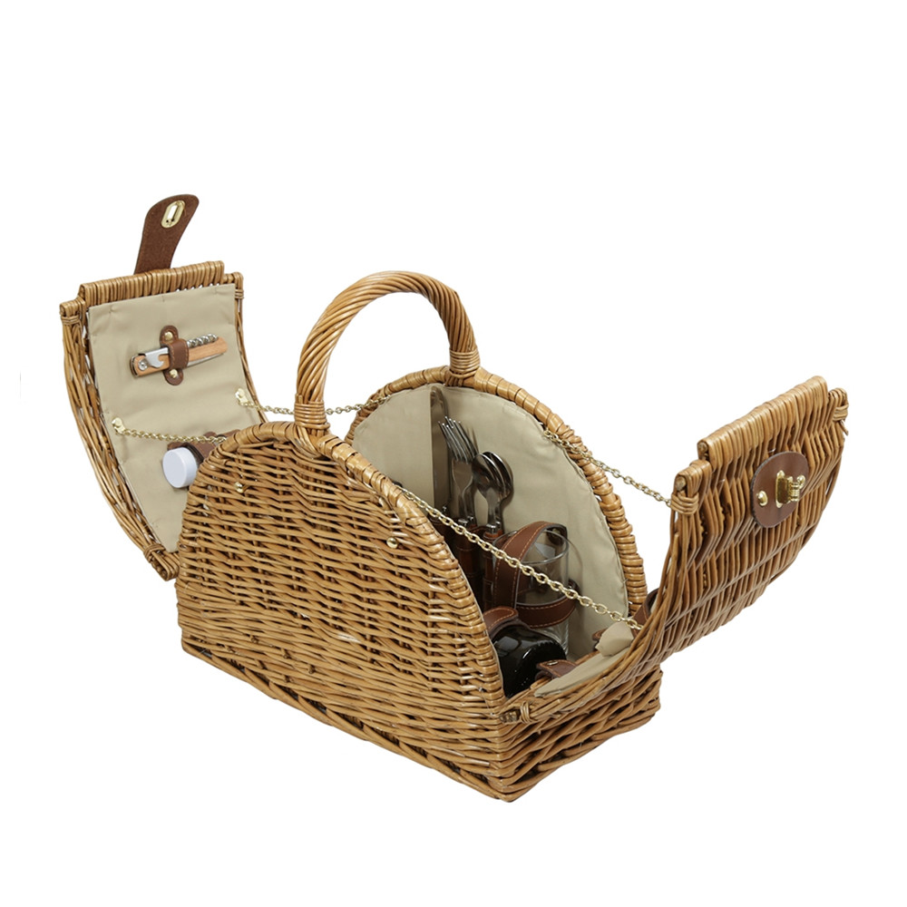 Wicker Picnic basket for 2 persons, picnic box made of willow with lid