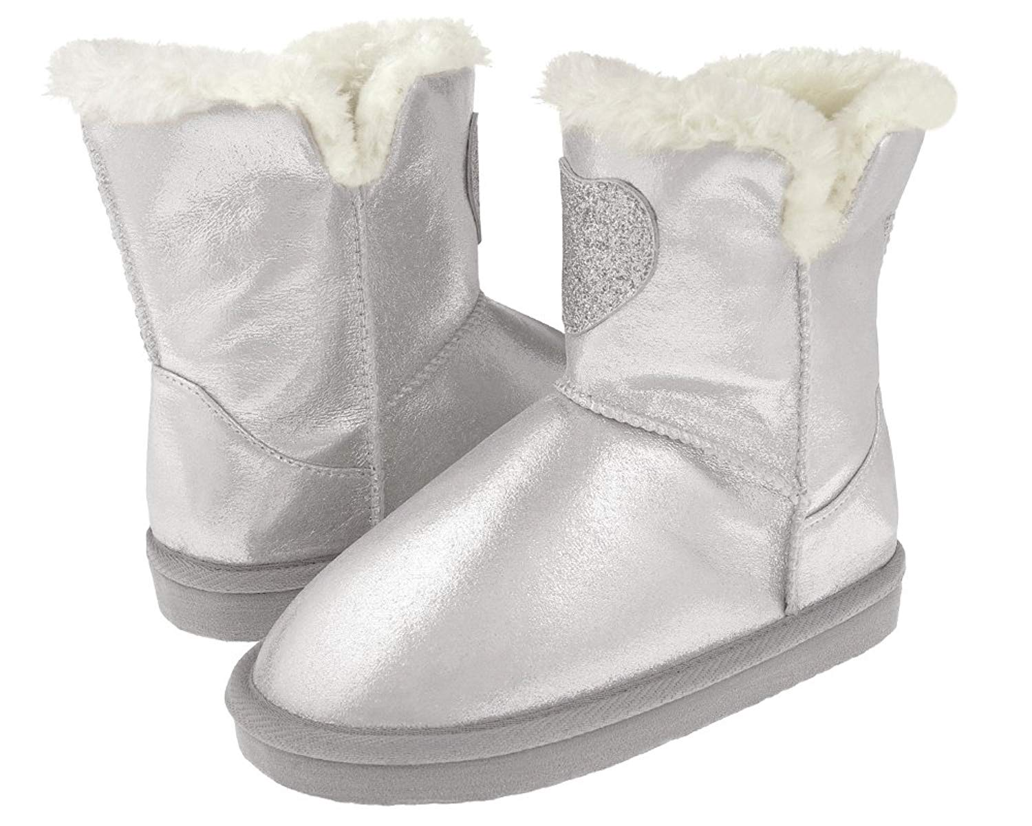 Capelli New York Metallic Shimmer Fabric Glitter Faux Leather Heart Patch and Faux Fur Lining Girls Boot