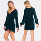 Emeral Green Long Sleeves Velvet Dress For Ladies