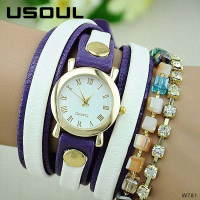 Usoul OEM Colorful New Design Leather Strap Elegant Wristwatch Wholesale 2018 Ladies Bracelet Watches