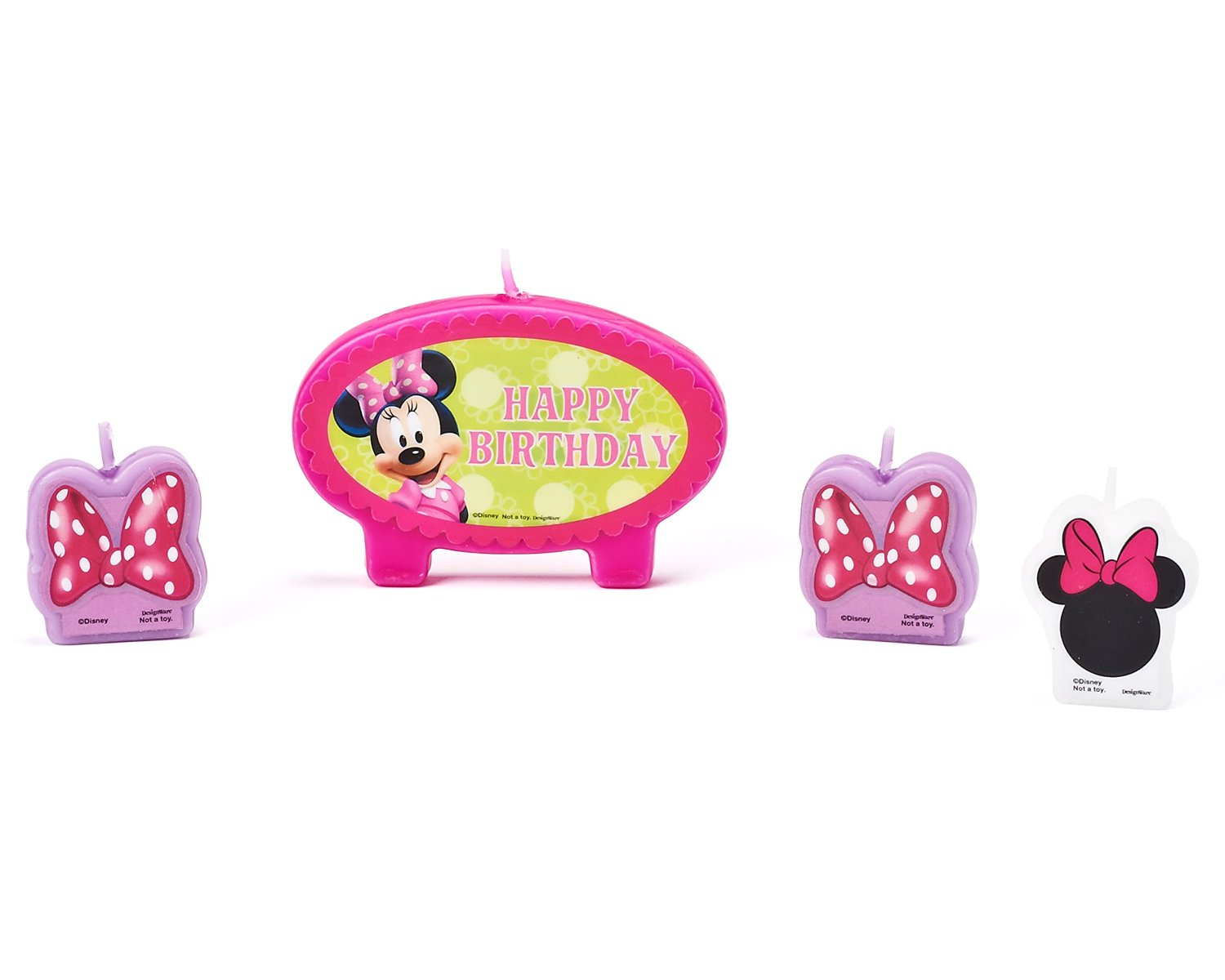 Minnie Mouse Bowtique Birthday Candles, 4 Count, Party Supplies