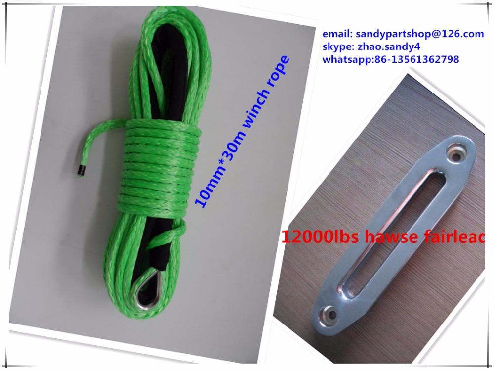 10 мм * 30 м быстрое восстановление atv трос лебедки, синтетический трос для колеса 4 x 4 с роликовым тросоукладчиком, amsteel веревка