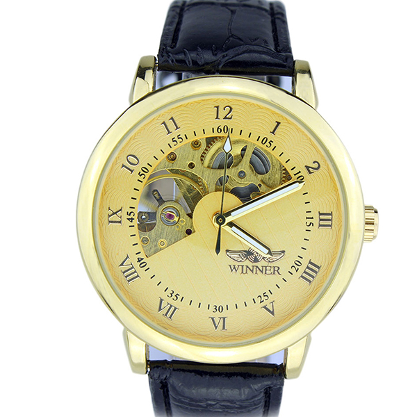 Best selling genuine leather strap fly tourbillon mechanical watch