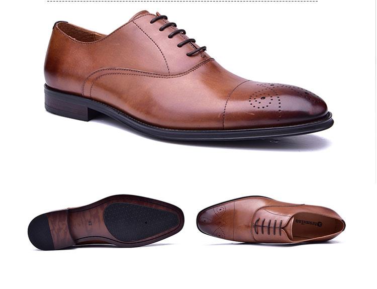 ec3aad2beef19 2019 fashion mens wholesale real leather dress shoes little square cap toe  oxford italian style man