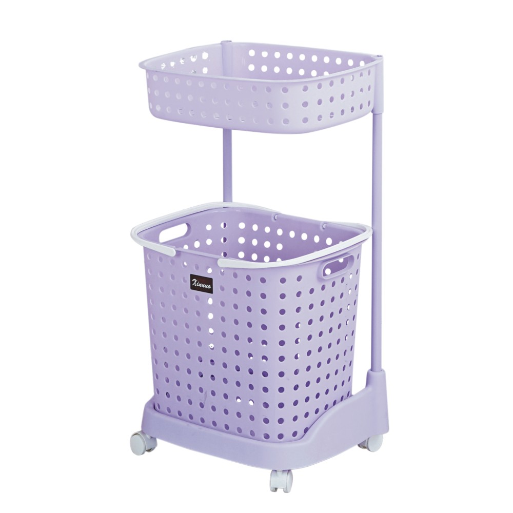 High quality 2 layer plastic laundry basket with wheels for Laundry room baskets with wheels