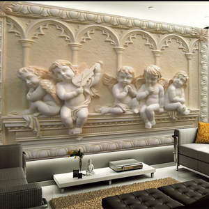 2019 Hot selling design Little angel relief 3d living room wallpaper art for church wall decorations
