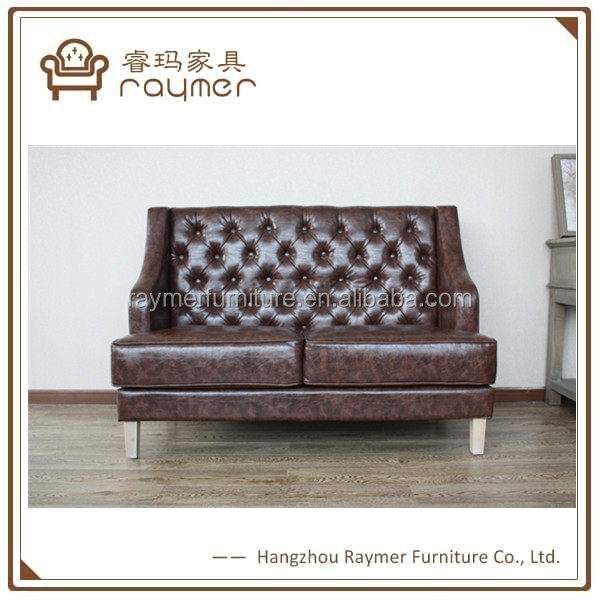 Luxury buttoned living room 2 seaters tufted sofa leather chester sofa