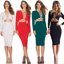 Rot Strappy Design Langarm Sexy Bodycon Kleid