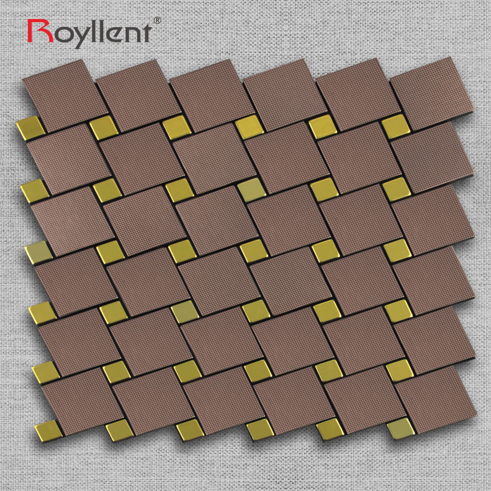 Telha De Mosaico De Ouro Metal Escovado Para Azulejo Mosaicos